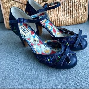 Miss L Fire Navy Embroidery Shoe Ankle Strap SZ 38